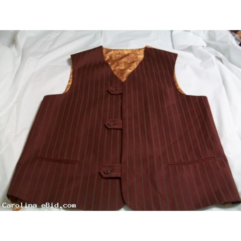 Three piece Burgundy Suit With Grey Pin Strip