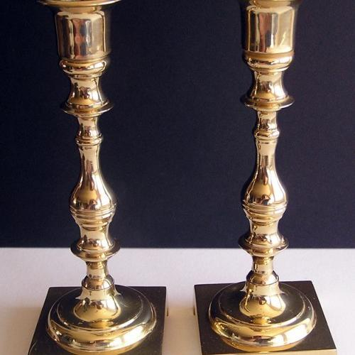 SQUARE BASE Brass Candlestick Holder